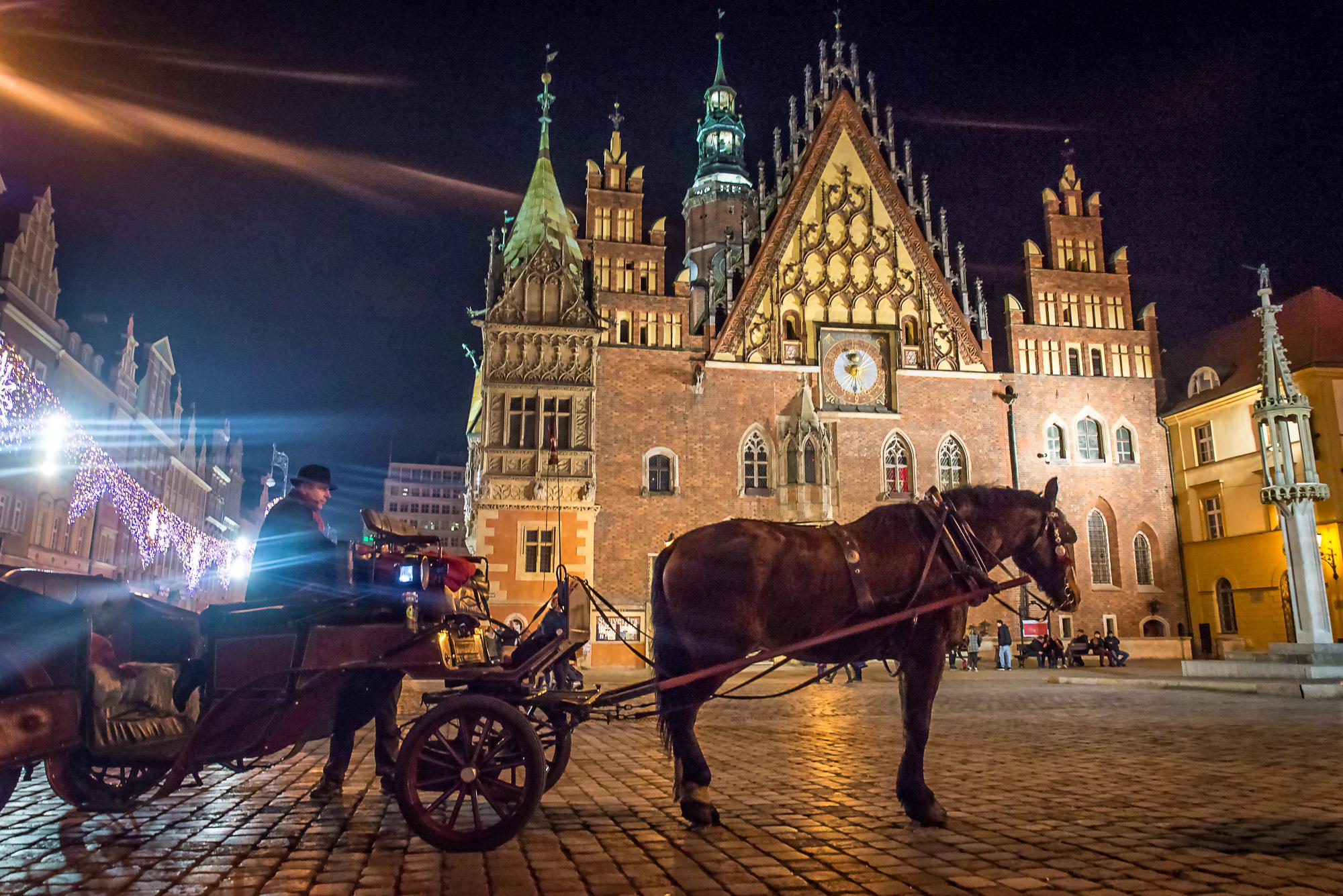 Devant Ratusz - l'hôtel de ville de Wroclaw